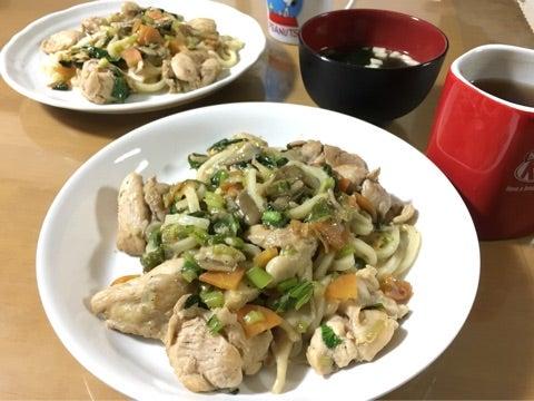 鶏肩肉と野菜の塩焼きうどん