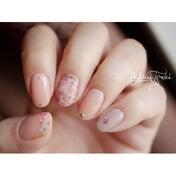 押し花さくら♡で桜ピンクネイル♡【しずくウォーターネイルシール6】