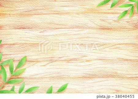新緑と木目の背景イラスト 手描き色鉛筆画イラスト