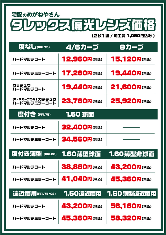 TALEX価格表
