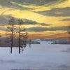 雪と夕焼けの画像