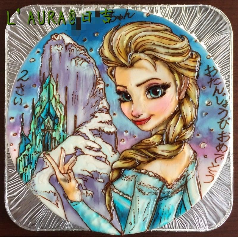 雪に誘われて エルサ 氷のお城のイラストケーキ ケーキ店l Aura