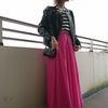 計¥12388鮮やかPINKマキシスカートコーデの画像