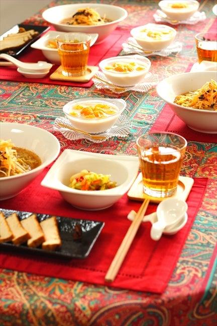 柏料理教室 マクロビ中華 テーブルコーディネート