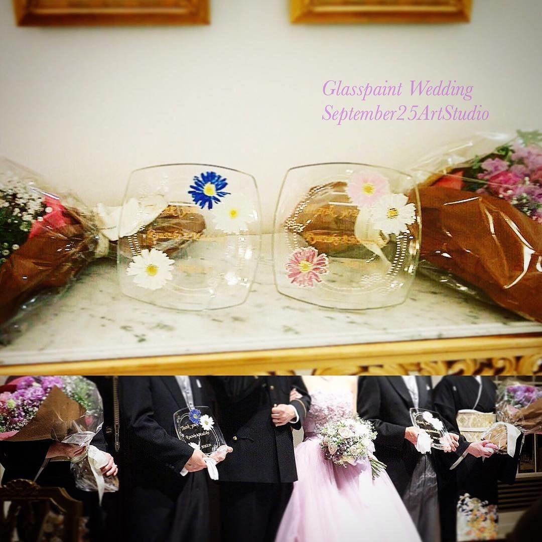 【お客様活用事例】結婚式、ご両親へのプレゼント(ガーベラ感謝プレート)