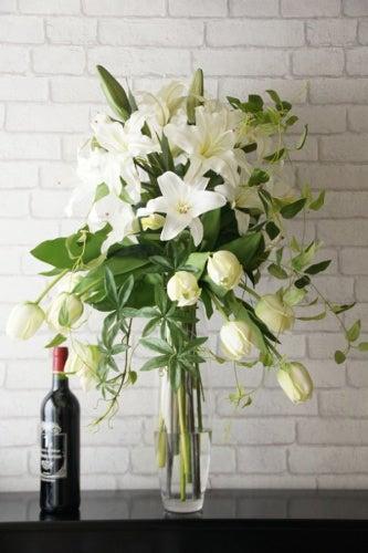 カラー カサブランカ アートフラワー 供養 造花