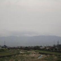 富士山、川鳥、花