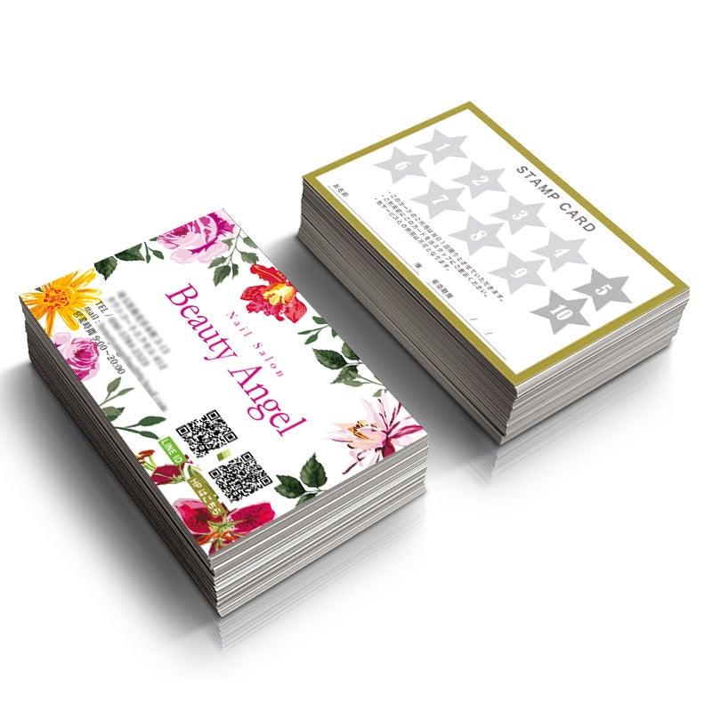 かわいい名刺,女性名刺,花柄名刺,サロン名刺