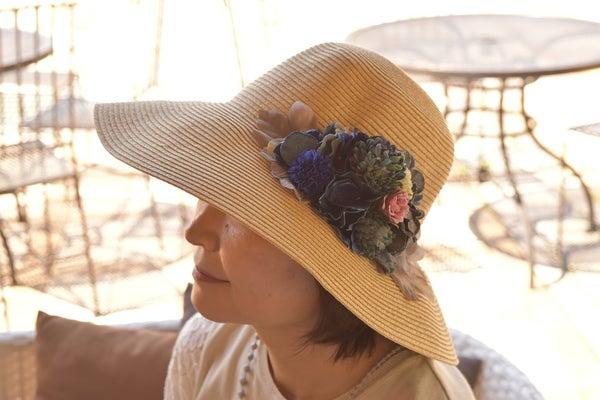 ブルーマムの麦わら帽子直良