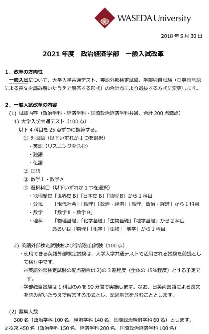 日程 入試 早稲田 大学