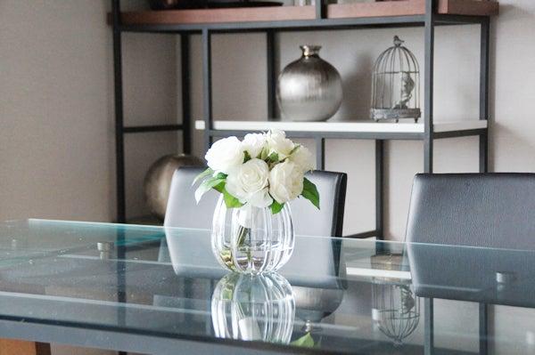 造花 アートフラワー 白いバラ ホワイトローズ 食卓テーブル