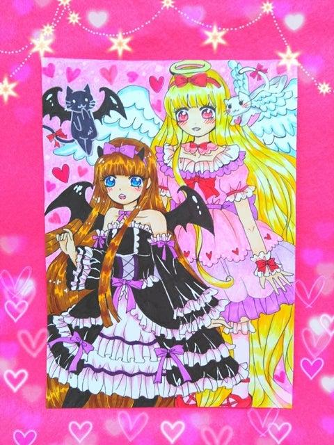 天使と悪魔のイラスト親子絵ビスクドール 可愛いもの大好き