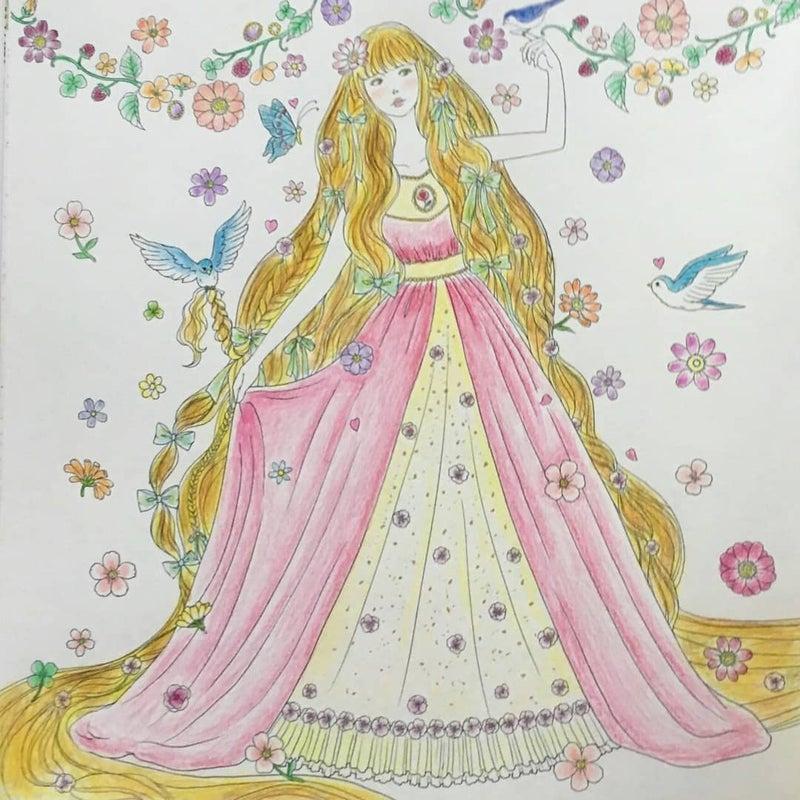 夢色プリンセス塗り絵 ラプンツェル めーめーのぬりえと水彩画日和
