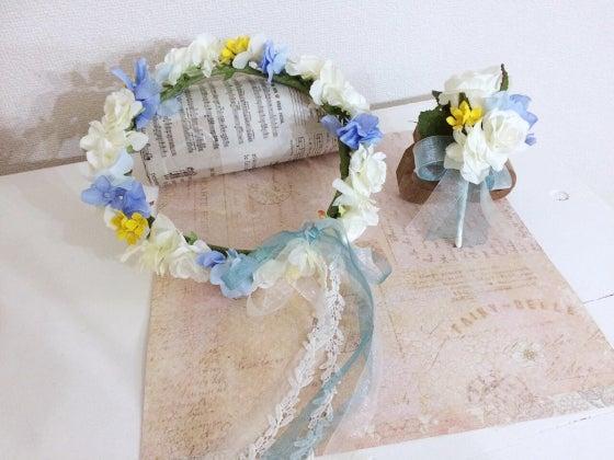 ミルフェリーチェ 出張ヘアメイク 花冠 オーダー花冠 水色と白の花冠 ブートニア