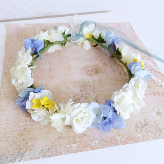 ミルフェリーチェ 出張ヘアメイク 花冠 オーダー花冠 水色と白の花冠