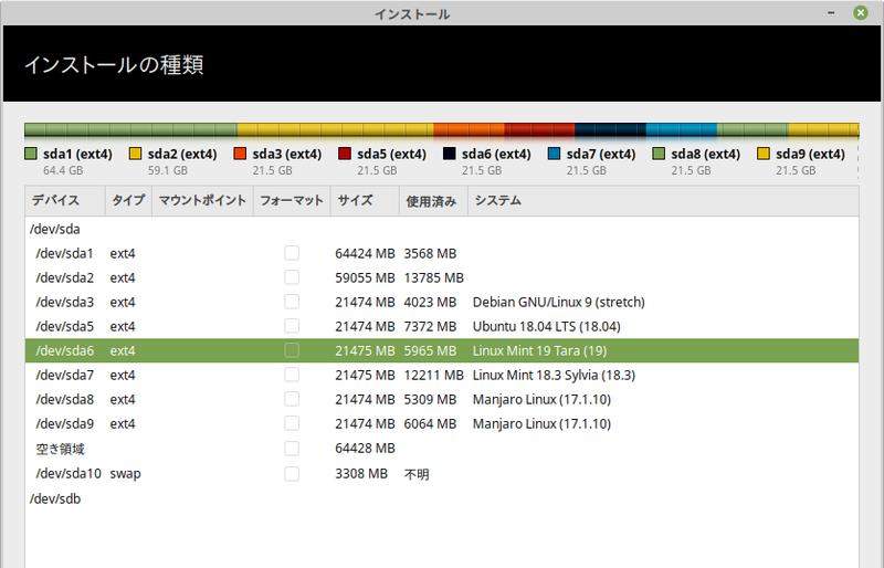 最新バージョンの LinuxMint-19-Xfce を早速インストールしてみ