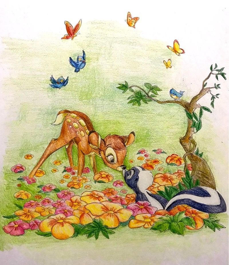 やさしい大人の塗り絵 バンビ花畑をメルツで溶かす 楽しいコロ