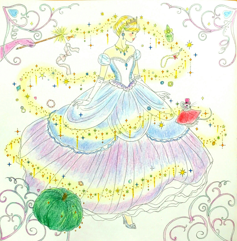 夢色プリンセス塗り絵 シンデレラ めーめーのぬりえと水彩画日和
