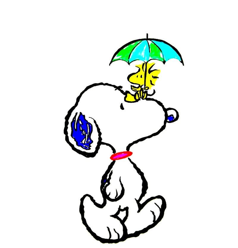 癒しのスヌーピーイラスト その207雨に濡れてもスヌーピー