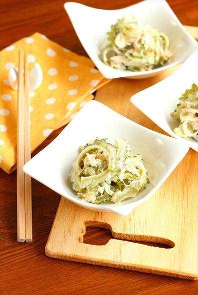 柏 料理教室 ゴーヤのツナサラダ にんにくマヨドレッシング