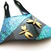 夏から晩夏、初秋におすすめなべっ甲かんざし 涼し気に藍翠色に輝く螺鈿と金色に輝く蜻蛉の美しい簪。の画像