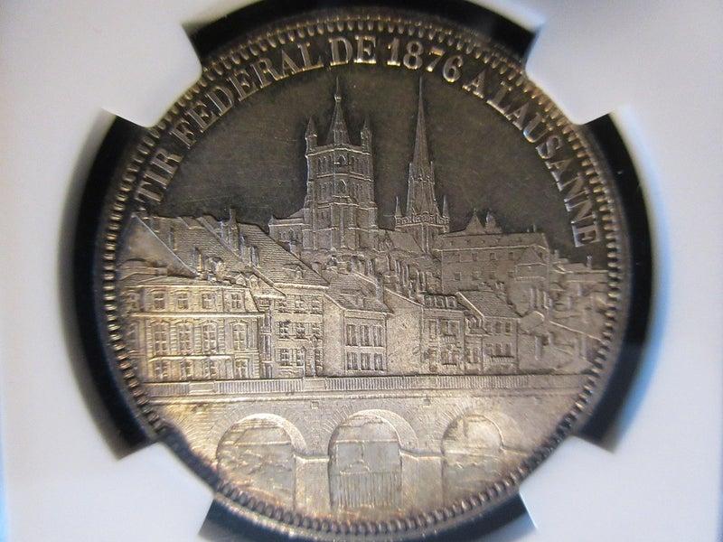 スイス 1876 ローザンヌ 射撃祭 5フラン銀貨 NGC MS65 | コイン収集 ...