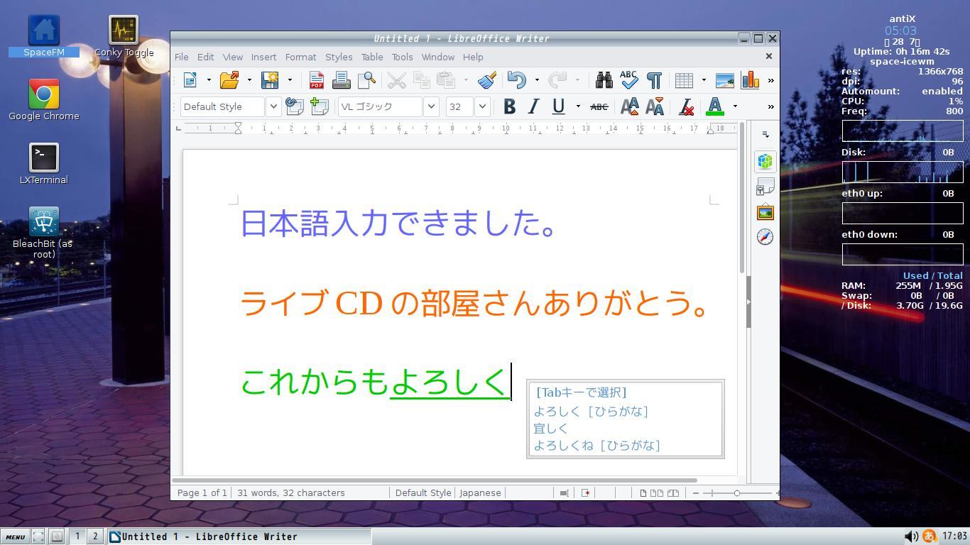 今回は超軽量リナックス「antiX-17 1」の簡単日本語化に挑戦してみました