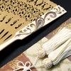 白檀象牙螺鈿金蒔絵扇子2018-2|ペイズリーと洋唐草の螺鈿金蒔絵を施した象牙製の親骨仕様の逸品の画像