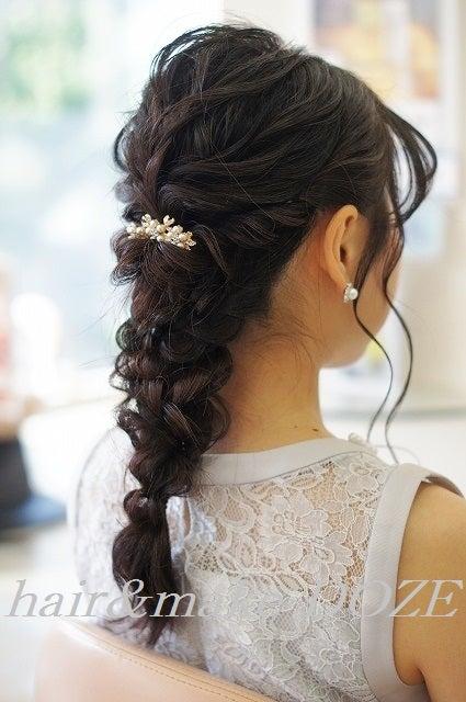 結婚式参列のヘアアレンジ。