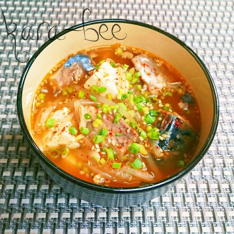 ご飯にかけても旨っ♪韓国風!鯖缶ともやしの旨辛胡麻味噌スープ