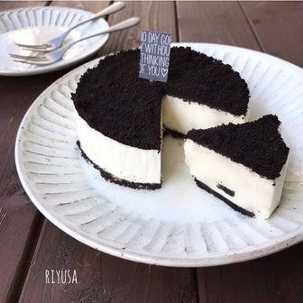 【混ぜて冷やすだけ】砂糖&生クリーム不要!!ダブルオレオのチーズケーキ