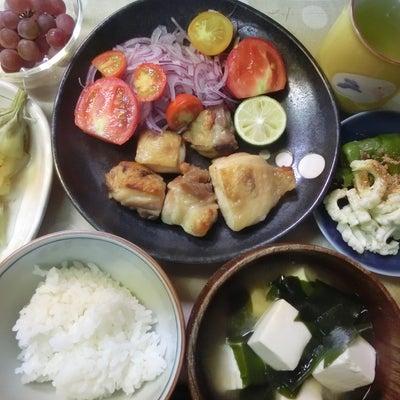 鶏塩グリル、夏野菜、ぶどう(おうちごはん)の記事に添付されている画像