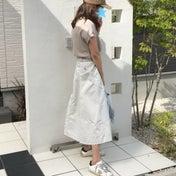 いつも主人が褒めてくれるコラボスカート♡連日UNIQLOキャップ