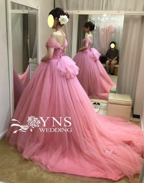 390e9e9bb7d43 ☆色違いで3着あるうちの1着ピンクのカラードレスSL17910☆
