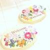 お花いっぱいの優しいウェルカムボードの画像