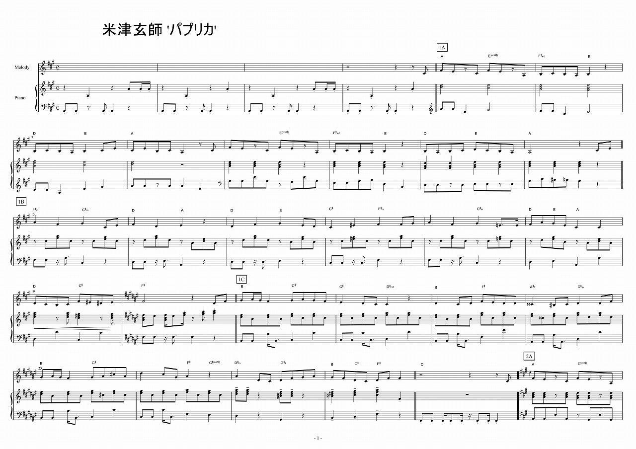 Original パプリカ 楽譜 , Jinggo
