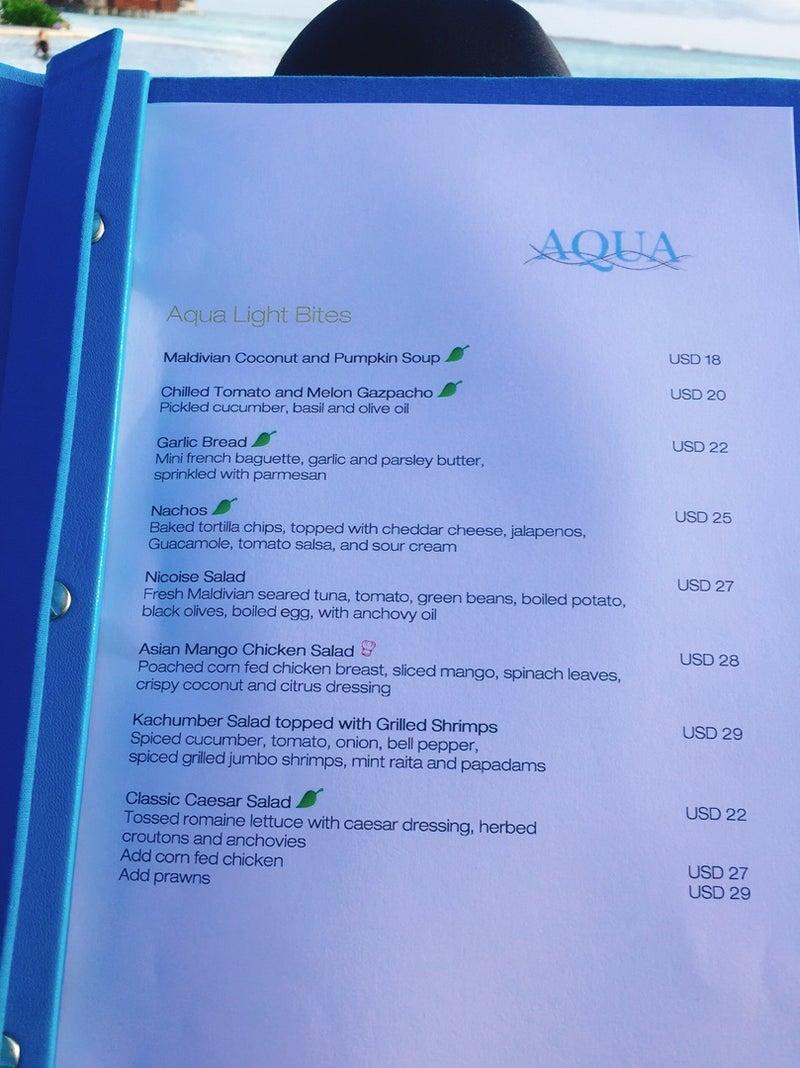 モルディブ 3日目の遅めのランチ aqua でハンバーガー 世界のフレンチ