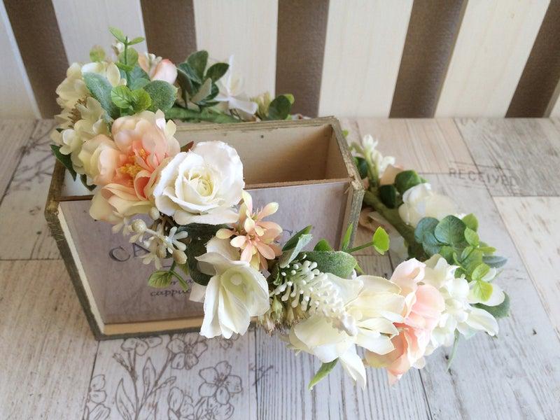 ミルフェリーチェウェディング オーダー花冠 可愛い花冠 ピンクの花冠