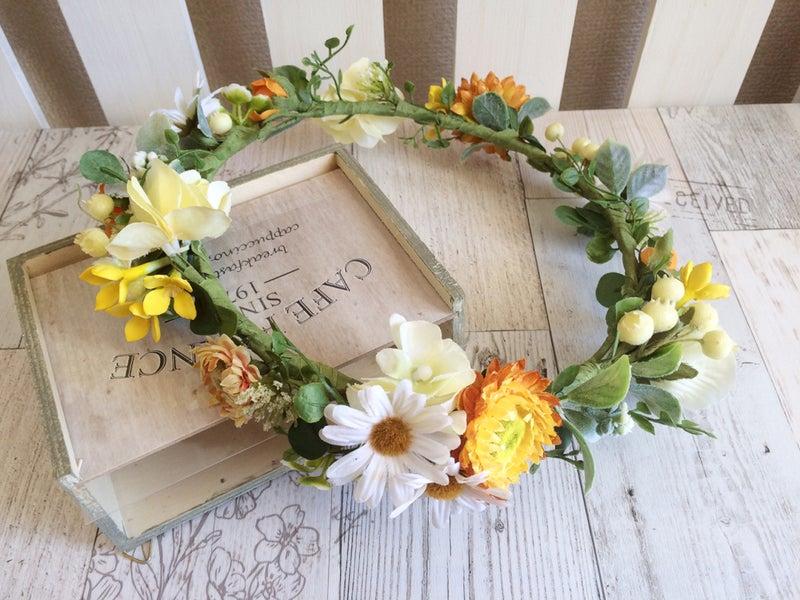 ミルフェリーチェウェディング オーダー花冠 可愛い花冠 黄色の花冠