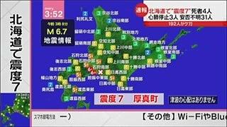 パイプと煙と愚痴と北海道・厚真町で震度7を観測、気象庁、上方修正。地震計データ確認2018/09/06