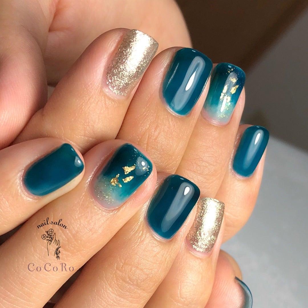 深い青緑カラーで秋ネイル♡ *薩摩川内市ネイルサロンココロ