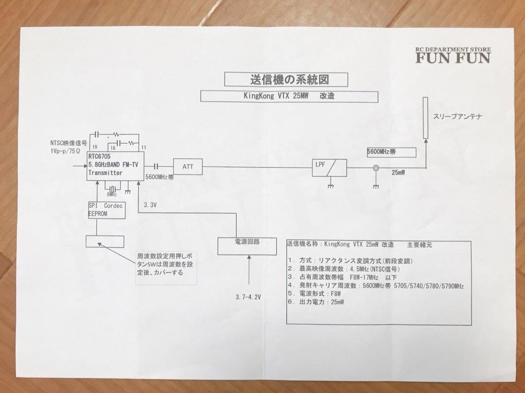 ドローン3年生の私ですが、毎日楽しんでます!yuzuiro FPV開局申請のための、VTX系統図探し!