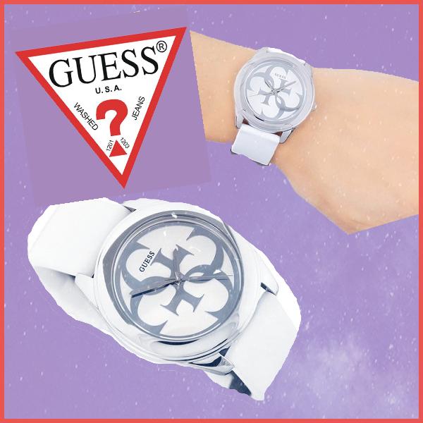 b9abfa821e GUESS(ゲス)のロゴを大胆にデザインしたホワイトカラーのシリコン(ラバー)素材のレディース時計は、  気品を漂わせるスポーツモデルエレガントな雰囲気が、