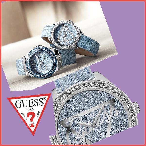 cb391abb55 GUESS(ゲス)を代表するデニム素材を採用したヴィンテージ感あるレディース時計は、 GUESS(ゲス)ロゴをラメで大胆にデザインしたアメカジ・古着系に似合う  ...