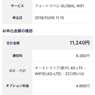 グローバルWi-Fi申し込み完了の記事に添付されている画像