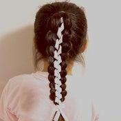 リボンを使った立体三つ編みのヘアアレンジ♡