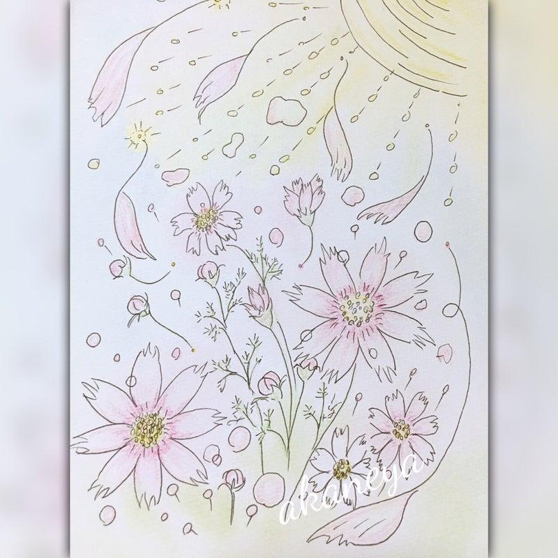 大人の塗り絵秋桜 虹色散歩道天然石アクセサリー塗り絵セラピー