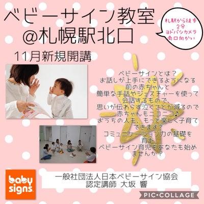 【ベビーサイン】ベビーサイン教室@札幌駅北口 11月開講。の記事に添付されている画像