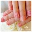 短いお爪にも映える♪ピンクのマーブル柄ネイル【お客様ネイル】