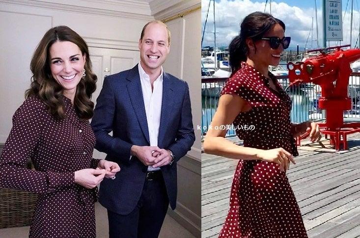 英国王室メーガン妃 キャサリン妃 ファッション 2018年10月 ドット柄の赤いワンピース